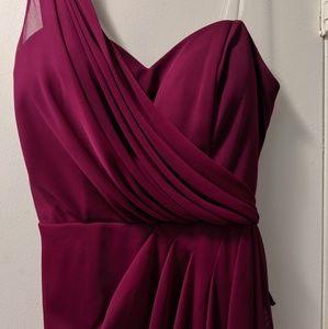 Xscape Dresses - Berry Wine Red Dress, Cocktail dress, one shoulder